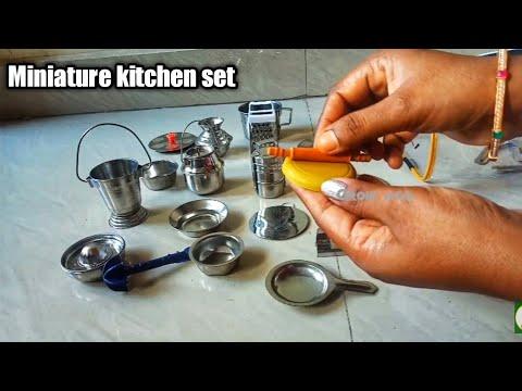 Miniature Kitchen Set Unboxing Tiny Utensils Unoxing Toy Steel Cooking Set Kitchen Set Toy Youtube