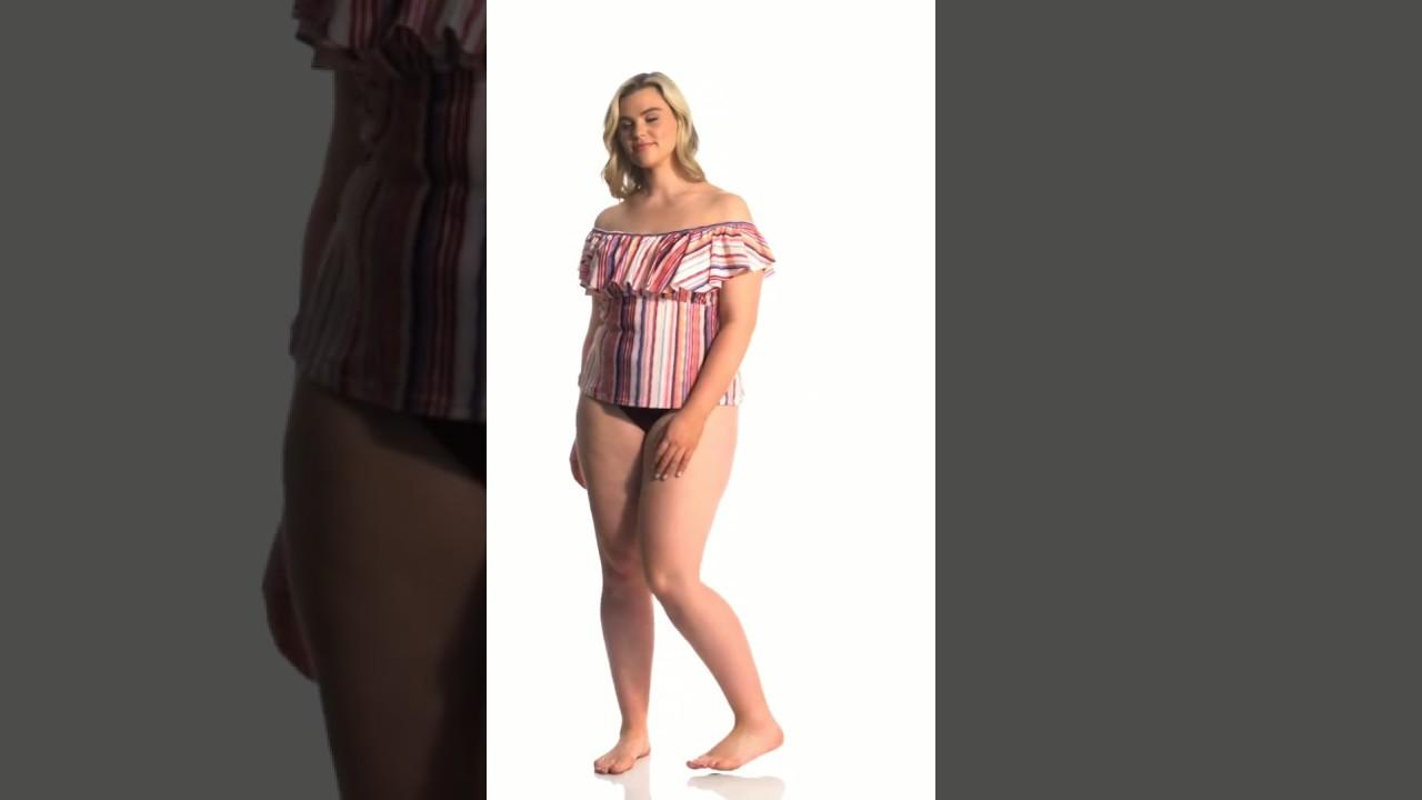 bab7ebbdf5095 Raisins Curve Plus Size Tahitian Sun Tortuga Flounce Tankini Top |  SwimOutlet.com