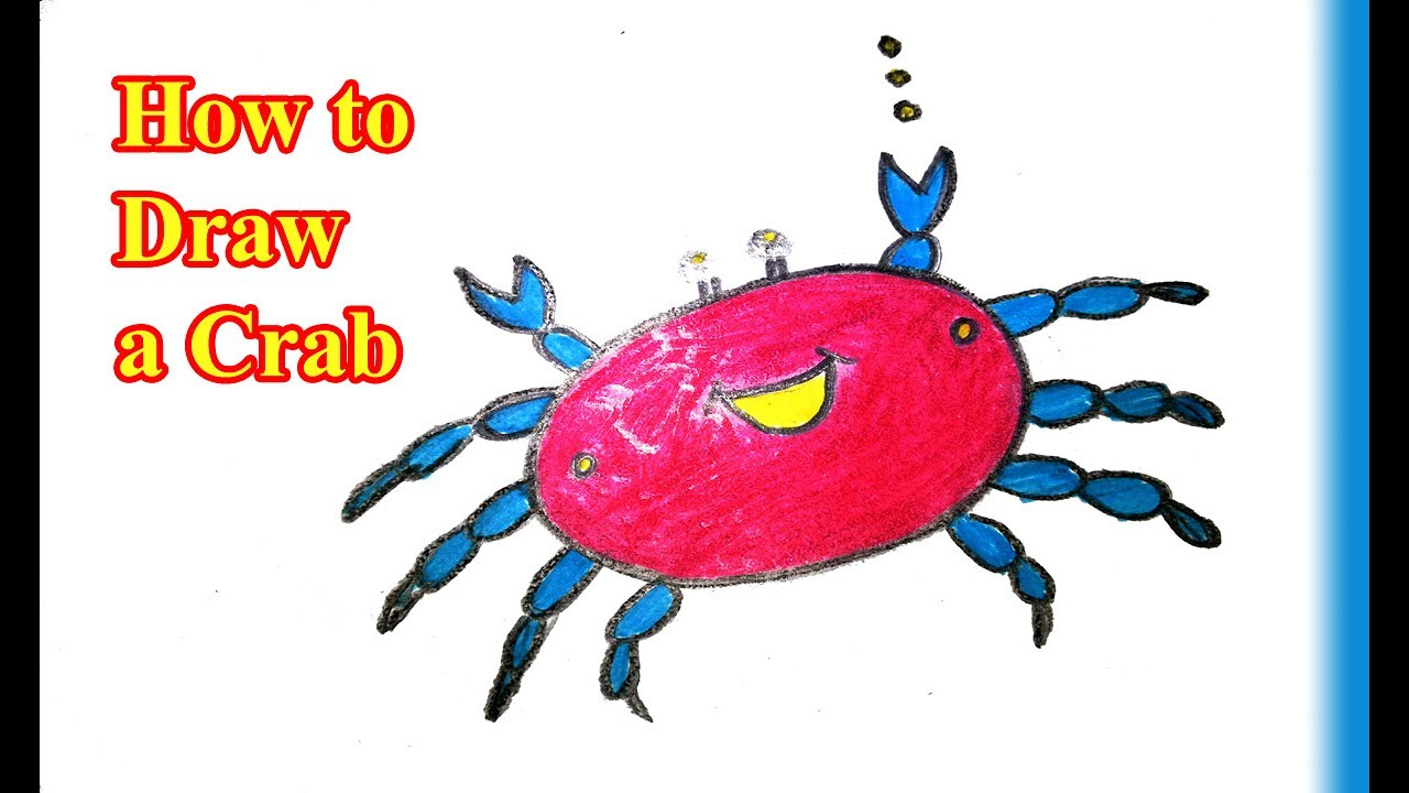 easy cartoon drawing how to draw a crab youtube