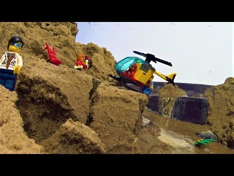 Lego Dam Breach - Mountain Airport In Danger By The Flood!