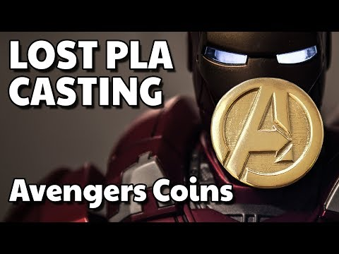 AVENGERS COIN Lost PLA Casting  - From 3D Print To Bronze Coin With My Home Furnace