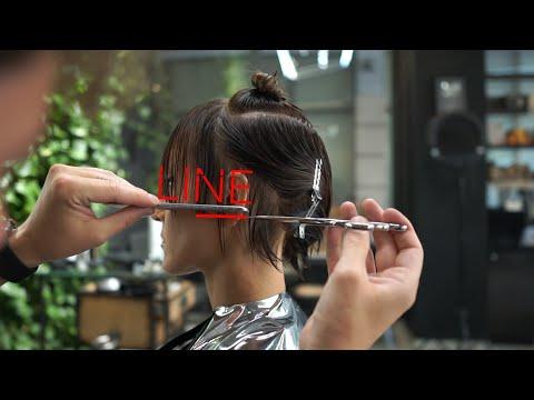 how to cut a short bob haircut. short bob haircut tutorial thumbnail