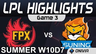 FPX vs SN Highlights Game 3 LPL Summer Season 2020 W10D7 FunPlus Phoenix vs Suning by Onivia