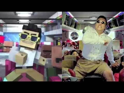 Minecraft Style and Gangnam Style side by side w/ Minecraft Style's Audio