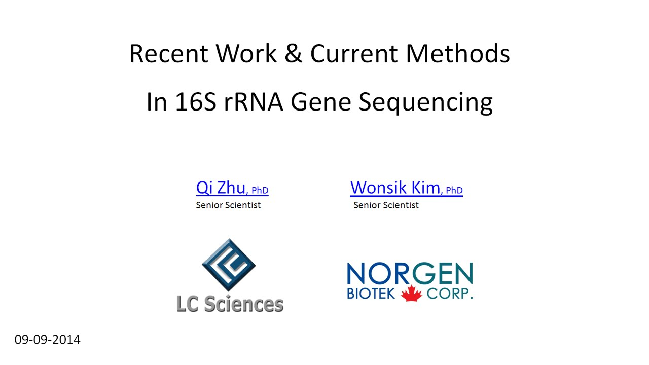 webinar 16s rrna gene sequencing recent work current methods
