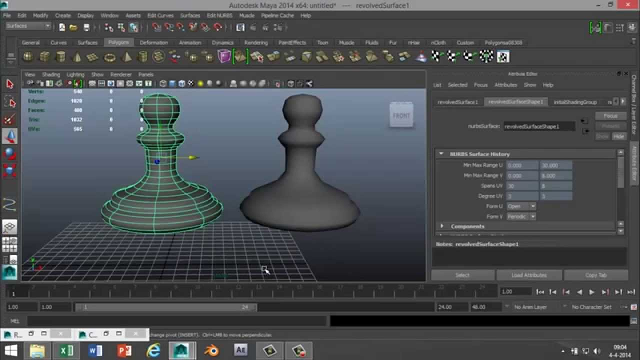 maya 2014 tutorial   from cv curve tool object to polygon