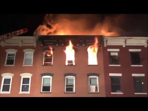 HOBOKEN FIRE DEPARTMENT ALONG WITH MUTUAL AID FIRE DEPARTMENTS BATTLING VICIOUS 4TH ALARM FIRE.