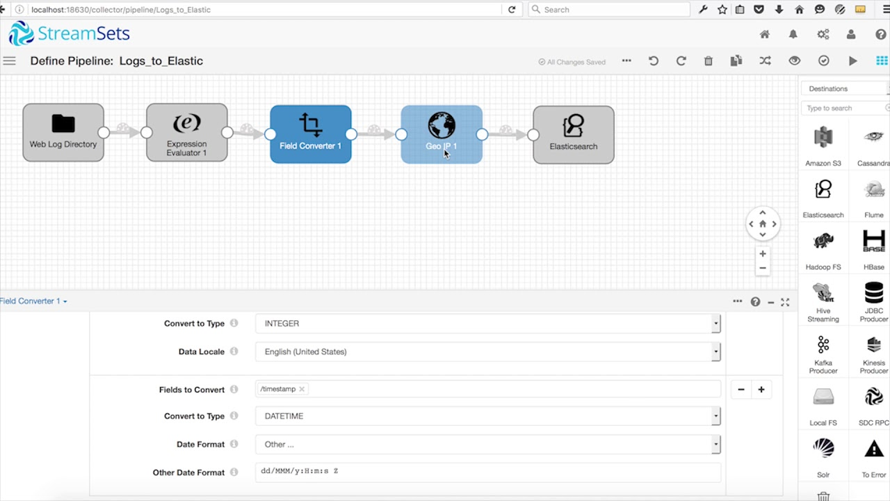 Ingesting Log Files into ElasticSearch Using StreamSets Data Collector
