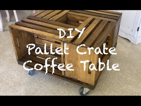 DIY Pallet Wood Crate Coffee Table w/ Metal Wheels