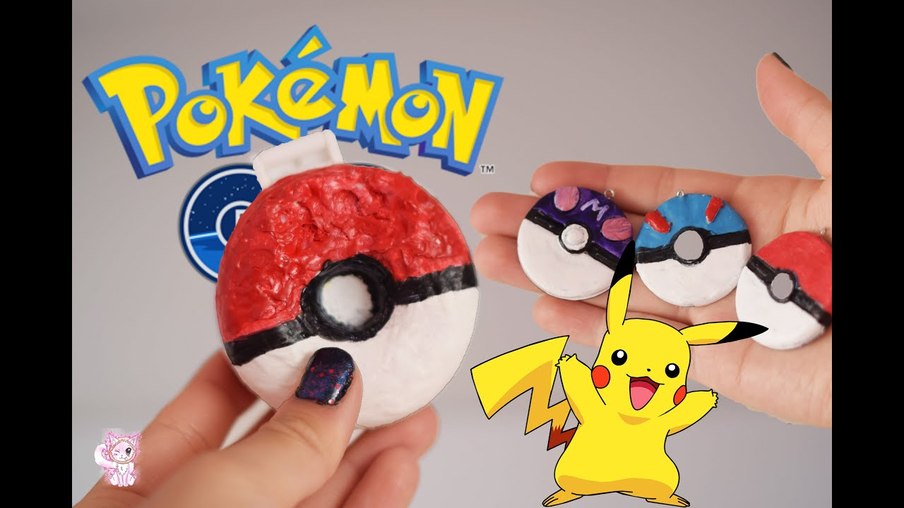 DIY POKEBALL SQUISHY! Pokemon go inspired, and polymer clay pokeball tutorial - YouTube