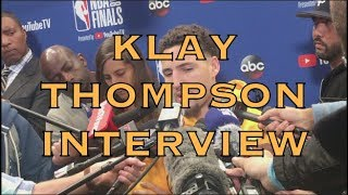 Partial KLAY interview+transcription: ankle status, The Q, glad not having to guard Kyrie