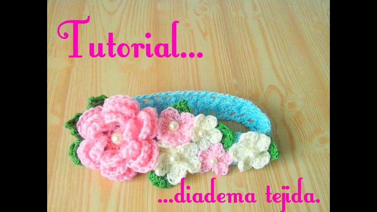 Crochet : Diadema tejida para bebe. - YouTube