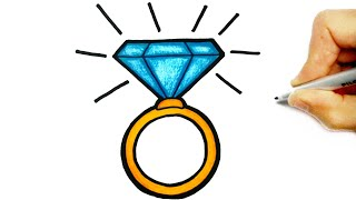 HOW TO DRAW A CUTE DIAMOND RING