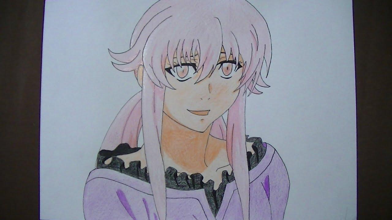 Como Dibujar/pintar A Yuno Gasai (Mirai Nikki)