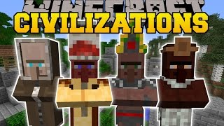 Minecraft: CIVILIZATIONS MOD (NEW BUILDINGS, VILLAGERS, & TRADES!) Mod Showcase