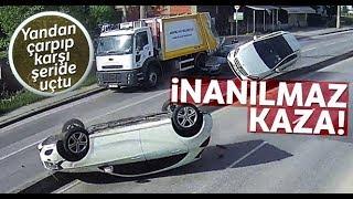 Otomobile Çarpıp Karşı Şeride Böyle Uçtu 2 Yaralı
