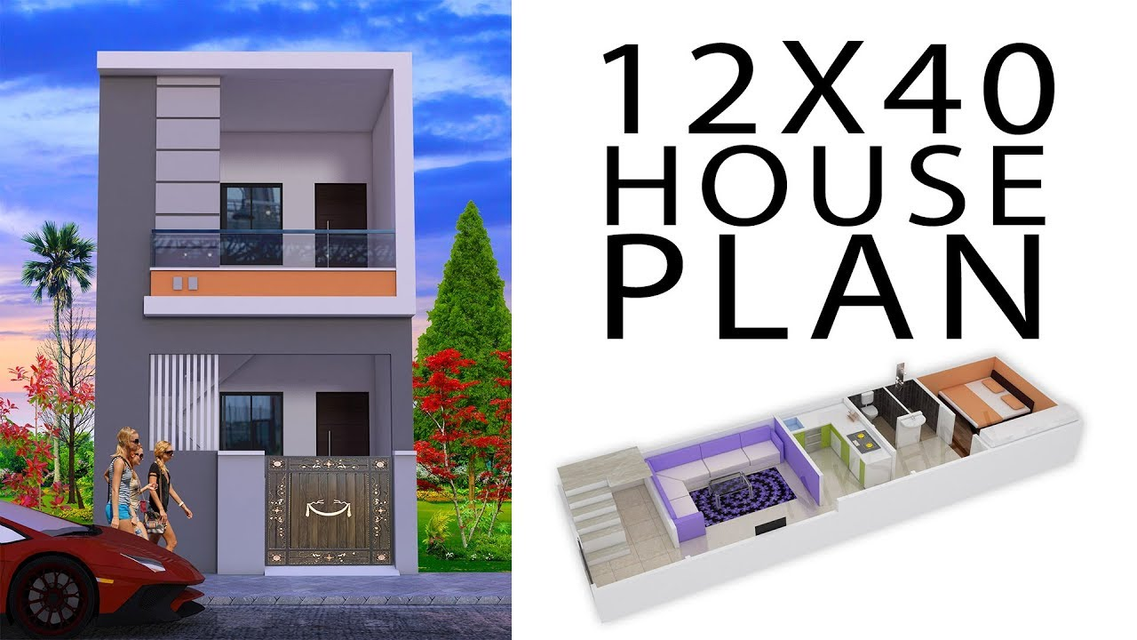 12x40 house plan with 3d elevation by nikshail - YouTube