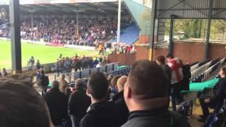 Bury v Millwall hooligans fighting on pitch 23/04/16