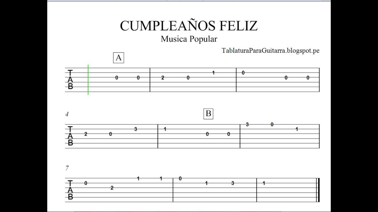 Cumpleaños Feliz Tablatura Para Guitarra Youtube