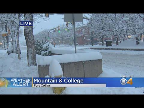 Fort Collins Old Town Quiet Under Blanket Of Snow