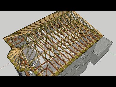 видео: bc: Стропильная система вальмовой крыши и эркера