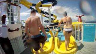 Riding the waterslides on carnival Dream during a cruise to mexico with the go pro