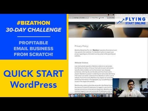 WordPress Quick Start: Menu + Theme + Privacy, Terms, Contact Pages - (Day 3/30) #Bizathon
