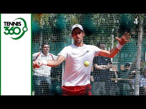 Novak Djokovic practices with Daniil Medvedev in Madrid