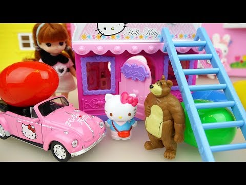 Thumbnail: Hello Kitty surprise eggs house and car with baby doll and bear toys play