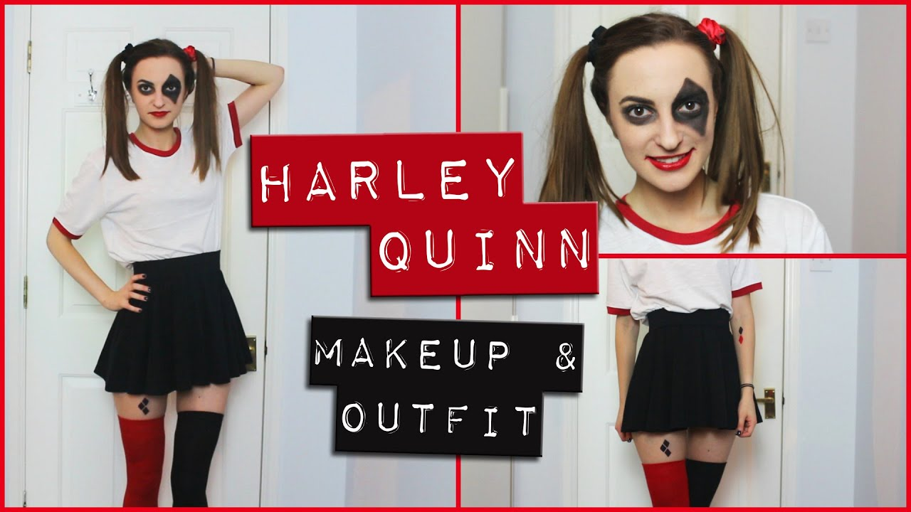Harley Quinn Easy Makeup And Outfit Diy Costume Comic Inspired