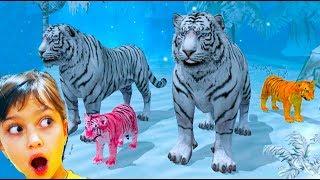 СИМУЛЯТОР ДИКОЙ КОШКИ Мультик игра про животных Семья белого ТИГРА Детский летсплей #Валеришка