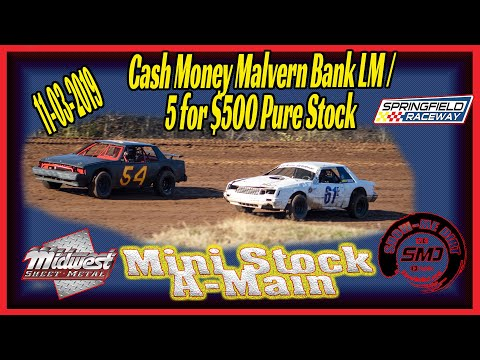 Min Pure Stock A➜Main Springfield Raceway 11➜03➜2019 Dirt Track Racing