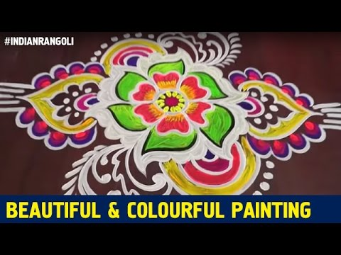 Most Beautiful And Colourful Painting On Floor Best Rangoli
