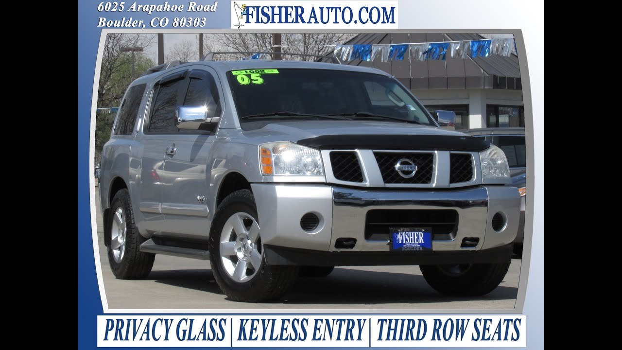 used cars 2005 nissan armada se boulder longmont denver fisher auto pc7053a youtube. Black Bedroom Furniture Sets. Home Design Ideas
