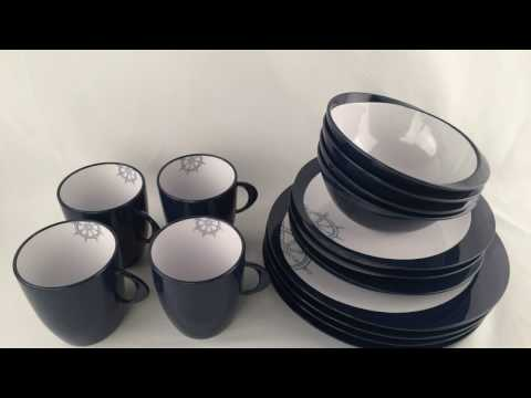 Young Marine Scandinavian Design Blue Nautical Home Melamine Ware Dinner Set
