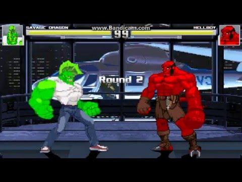 SAVAGE DRAGON  vs HELLBOY (Mugen Battle)
