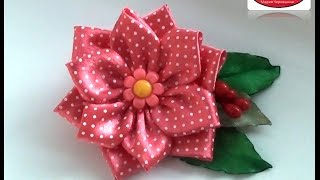 МК цветок в горох Канзаши Цветы из лент D Y Kanzashi Ribbon Flowers