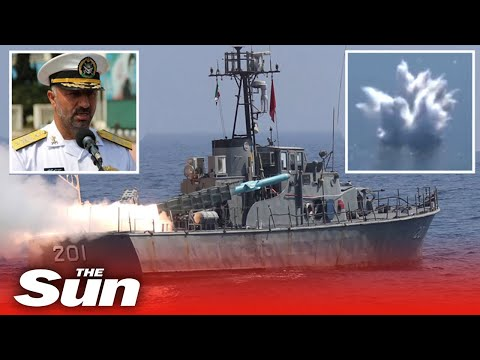 Iran blows up ships with cruise missiles & torpedoes in war games