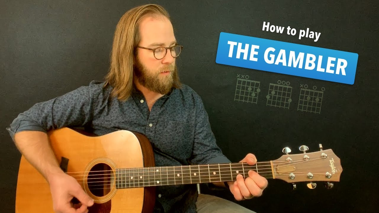 🎸 The Gambler • easy guitar lesson w/ no capo Kenny Rogers