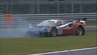 Italian GT Championship 2018. Race 1 Autodromo Nazionale Monza. Crash