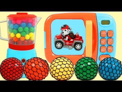 Learn Colors with Magic Toy Microwave, Color Changing Mesh Balls, & Paw Patrol Pups!