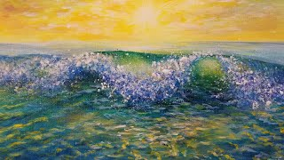 Ocean Wave Sunset LIVE Acrylic Painting Tutorial