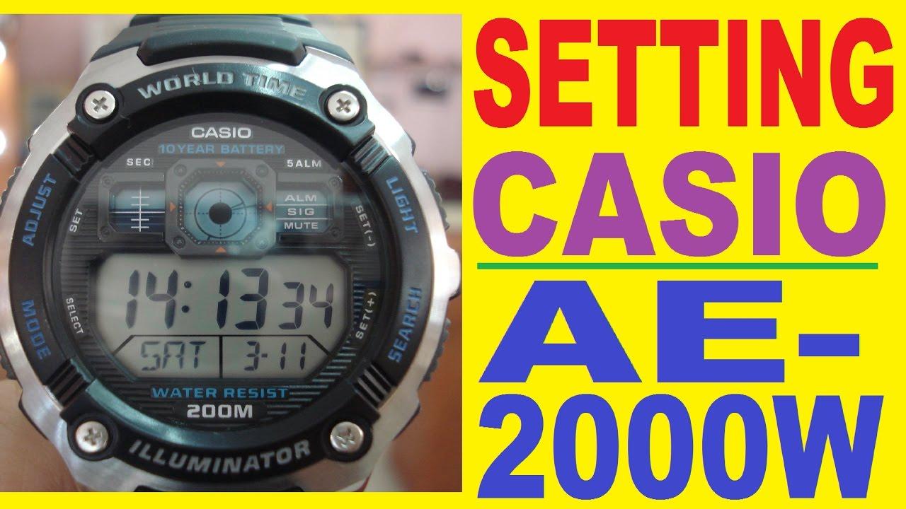 6537c7f0130 Setting Casio AE-2000W manual for use - YouTube