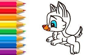 How to draw Husky Easy | Cute Husky Coloring Pages | Learn Drawing for Kids