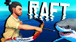 BOW and ARROW vs SHARK! - Raft Gameplay