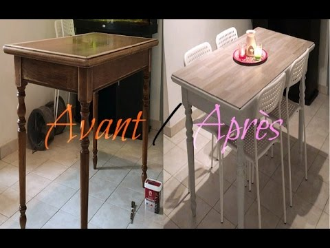 Retaper sa table en bois vernis youtube for Moderniser un meuble en bois