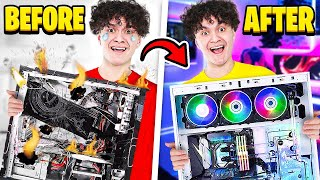 Destroying My Little Brother's Gaming Setup & Surprising Him With New PC