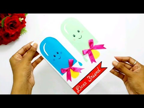 DIY Handmade Friendship day greeting card| How to make greeting card for friends | Queen's home