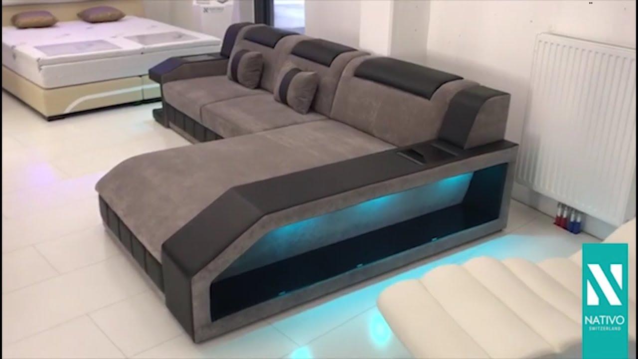 NATIVO Möbel Deutschland   Designer Sofa MATIS MINI Mit LED Beleuchtung  (grau Schwarz)
