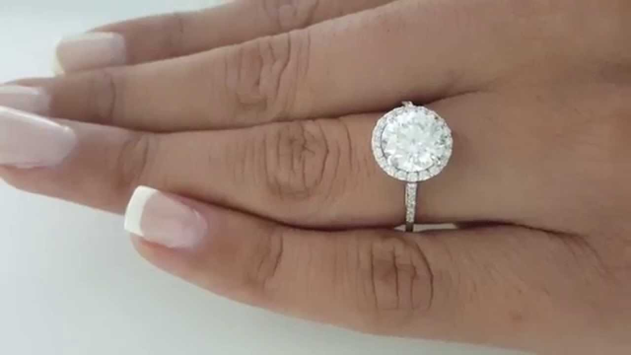 223 Carat Round F Si1 Halo Ring Natural Diamond Engagement 18k White Gold 2  Ct
